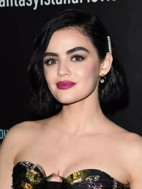 Lucy Hales Dark Hair And Berry-Colored Lipstick