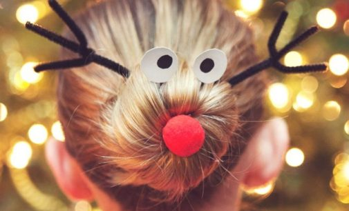 2020 Christmas hairstyle – Christmas Tree In Your child's Hair, Or a Reindeer Dot!